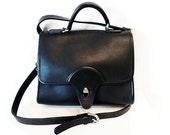 SALE Vintage Black Genuine Leather Briefcase Satchel Shoulder Bag by Kirkland