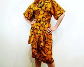 1980s Mustard Brown Wiggle Dress Vintage Brioche California Party Dress