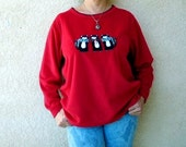Vintage Red Sweater Embroidered Three Cats Women M/L