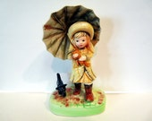 Girl with Umbrella and Dog American Greetings  300HHF-1 Cleveland Vintage figurine - Japan 1971