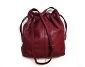 Vintage Burgundy Leather Drawstring Shoulder Hobo Bag COLLECTIF
