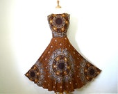 Vintage 60s Sundress Novelty Print Bohemian Golden Brown Elephants Print Cotton Dress