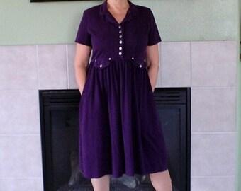 1960s Vintage dress  Cotton Plum Pleated Skirt Pocket dress Medium