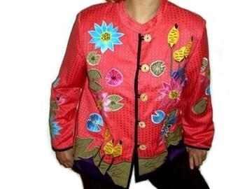 Women Jacket Flower Embroidered Applique Cotton Linen Art Wear 1980s Fuchsia Women Large