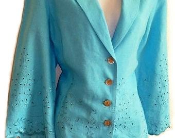 Vintage 80s Eyelet Linen Jacket Turquoise Embroidered Fleur De Lis Jacket  Size 8