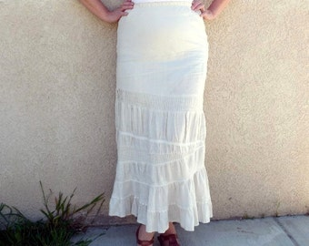 Vintage Linen Skirt maxi Eyelet Embroidered Ruffle Cream Skirt Medium