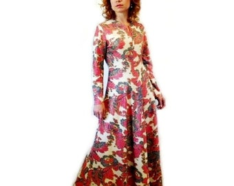 60s Dress Emilio Pucci Psychedelic Print Red white silver metallic Maxi Dress Medium