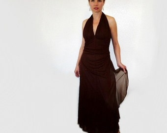 60s dress Brown Chiffon Halter Vintage 1960s Claralura Original Formal Party Evening Prom Gown S