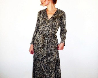 80s Wrap Dress Leopard Print Evening Party Size Medium
