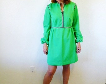Vintage 60s dress Jersey Mint-green 1960s Mini day dress Small