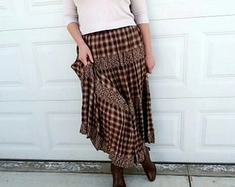 Vintage Plaid Skirt Brown Maxi Pleated Boho