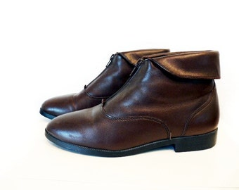 Vintage ankle boots Brown Leather Prima Royale Cuff Zip up Size 8.5