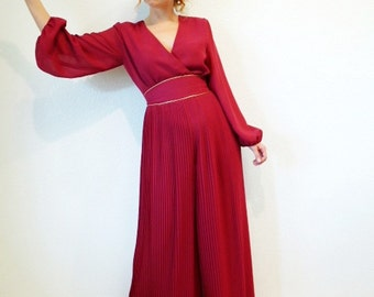 1960s  Dress Jumpsuit Maxi Miss Elliette Pleated Hot Maroon Prom Cocktail dress