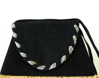 SALE Black Suede Leather Handbag NINA Trapezoid Evening Satchel  shoulder bag
