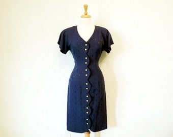 1980s Navy Blue Dress, Mini Wiggle Button Front Vintage 80s Dress Small