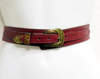 Vintage  60s Leather Belt Burgundy Solid Brass Buckle Cipriani Italian Leather belt