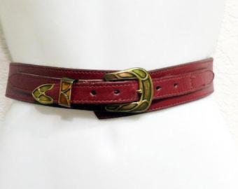 Vintage  60s Leather Belt Burgundy Solid Brass Buckle Cipriani Italian Leather belt