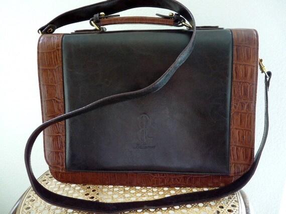 SALE Vintage 80s Briefcase Brown Leather Handbag Crocodile Trim BELLEROSE Organizer  Laptop Shoulder Bag