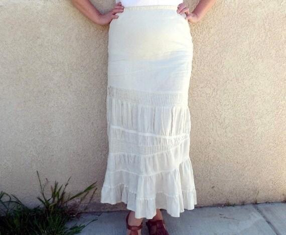 Vintage Linen Skirt maxi Eyelet Embroidered Ruffle Cream Skirt Medium