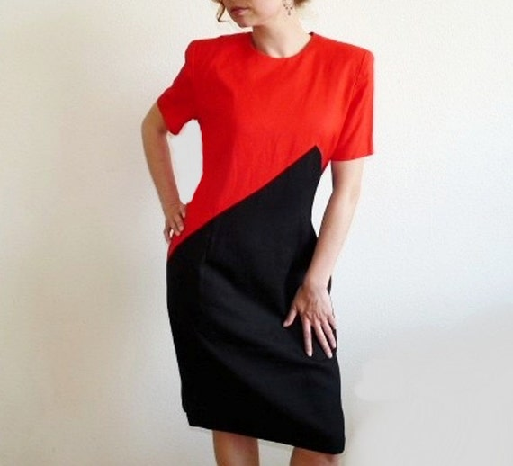 Vintage 80s Dress Linen Red and Black Wiggle Dress Graphic Steven Stolman Dress Medium