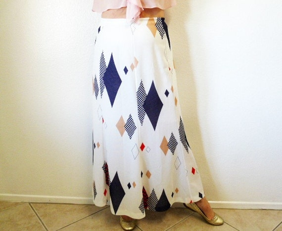 Reserved for MELODY Vintage 50s Geometric Skirt Nautical Maxi Skirt Christenfeld  Graphic Blue Red Beige