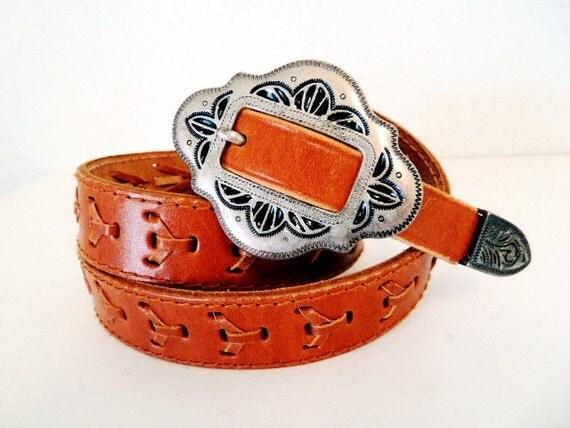 SALE Vintage Leather Belt Handwoven Brown Silver Engraving Buckle Belt 31