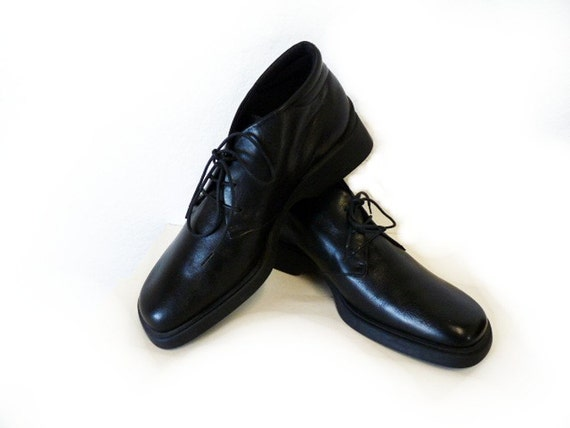 SALE Black Leather Ankle Boots Lace Up Anty-Gravity EASY SPIRIT Made in Italy Women 8M