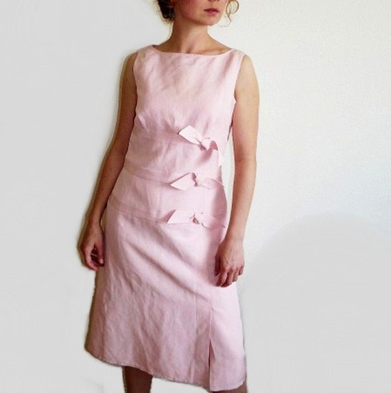 1960s Pink Dress Linen CARLISLE Couture Bow Cocktail Party Dress Small