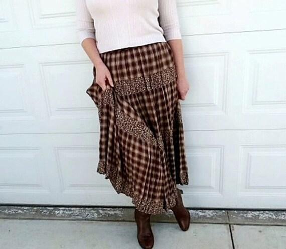 Vintage Plaid Skirt Brown Maxi Pleated Boho
