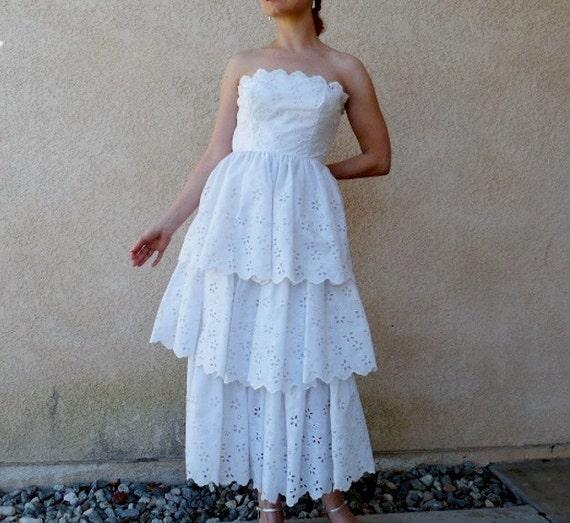 Vintage 1950s Dress White Eyelet Strapless Fritzi Ruffled