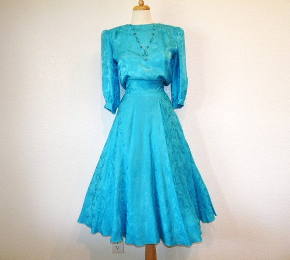 1980s Dress Turquoise Silk Dress ARGENTI Rockabilly Full Skirt Holiday Party dress