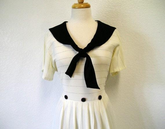 Vintage Sailor Dress White and Black Size 12
