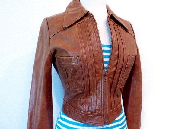 SALE GUESS Vintage Brown Leather Jacket  sz XS