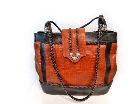 SALE Vintage Brighton Bag Brown Black Leather Braided Leather Straps