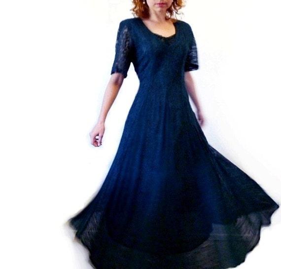 SALE Lace Dress NOSTALGIA Navy Blue Vintage 80's Party Dress