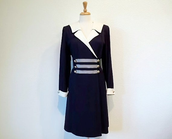 SALE Vintage Sailor Dress Navy and White Double breasted Mini Dress