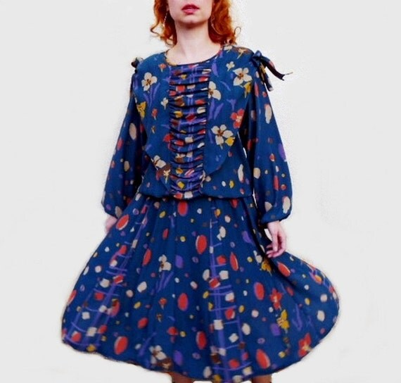 80s Diane Freis Dress Blue Yellow Floral Print Georgette Bow shoulder flared dress GREAT DEATELS!