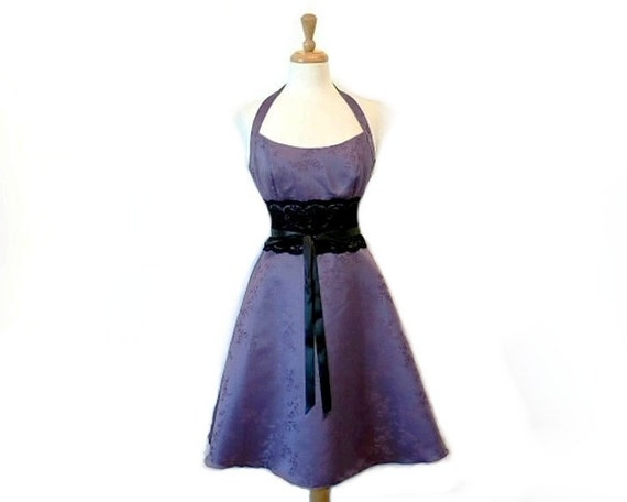 1980s Halter Dress Sweetheart Lace Waist Purple Floral Brocad Homecoming Party Pin-Up bridesmaid Dress