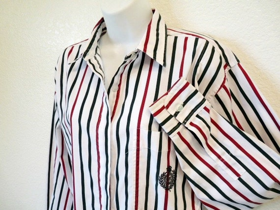 Cotton Vintage 80s Huntington Ridge Shirt Stripe Cassic Embroidered HR Women M Spring fashion