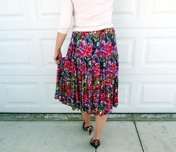 Vintage 80's Floral Print Circle Skirt  Summer Skirt Size L/XL