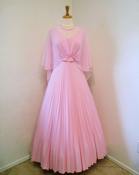 Vintage 60s Wedding dress Chiffon Pastel Pink Sheer Cape Accordion Pleat Prom Dress Jack Bryan Design Sweetheart Bridal dress, Small