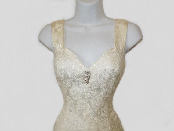 Vintage 90s Halter Mini Dress Brocade Floral Sweetheart Rhinestones Brooch RAMPAGE Cream Wedding Party, Bridesmaid Dress