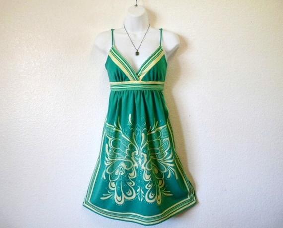 Vintage 70s Neon Mini Dress Butterfly Print Sundress Tunic Dress Summer Fashion Caron Chicago size S/M