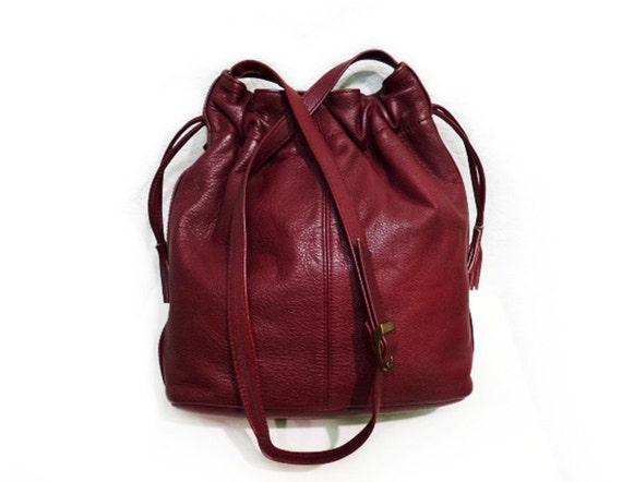 Vintage Burgundy Leather Drawstring Shoulder Hobo Bag COLLECTIF