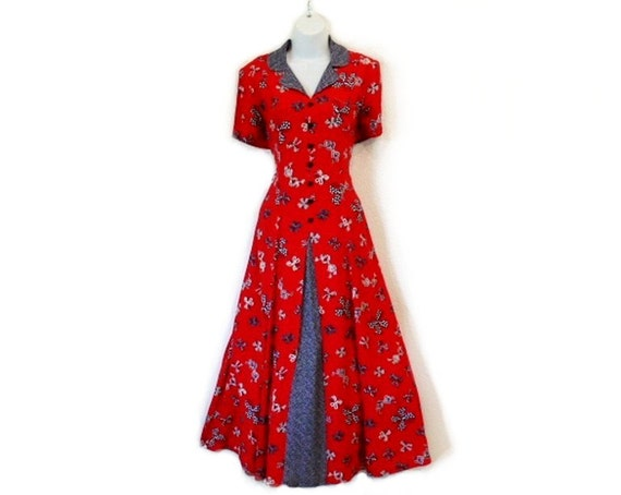 SALE Vintage 60's Dress, Gorgeous Susan Bristol Sailor Red and Blue BOWS Dress, Polka Dot full skirt in-up Party Dress