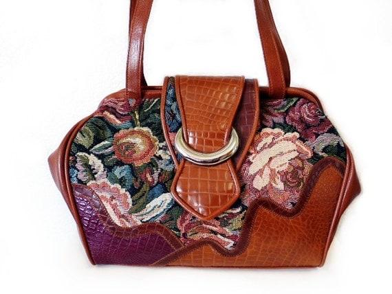 Tapestry Carpet Bag VintageFloral BONJOUR Crocodile pattern Leather Trim Silver Brass Shoulder Bag