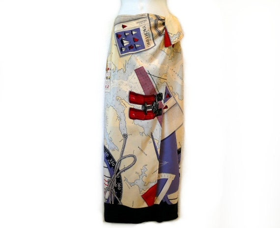 SALE Vintage  Skirt Silk Nautical Compass Print Wrap Ralph Lauren Cruise Map Summer Skirt beach vocation