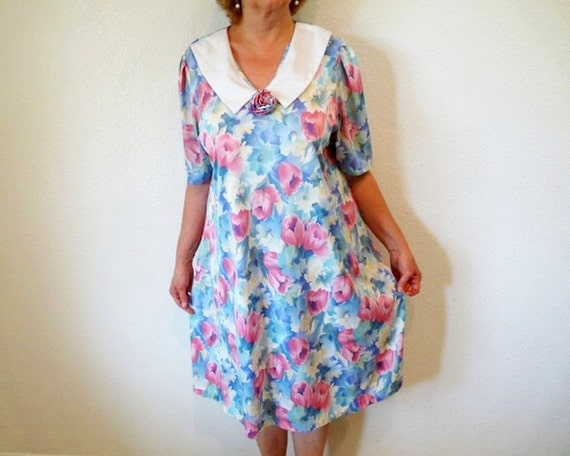 Vintage 80s Floral Dress, White collar, JoRo Fashion, Maternity dress, Garden Party, Summer dress Size L/XL