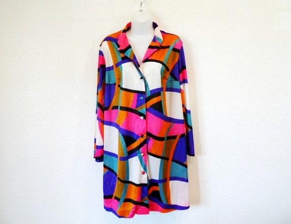 1960s Rainbow Shirt Dress Tunic Robe Gown Vanity Fair Summer Dress M/L