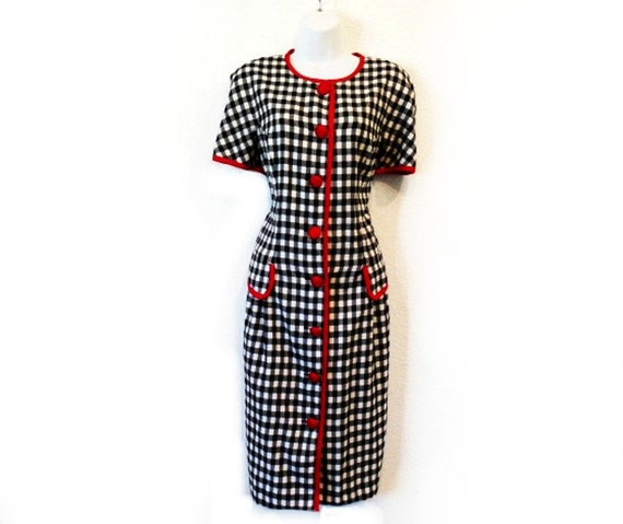 Vintage 1980s Houndstooth Dress Black and White Novelty Pencil Dress Maggy London Size S/M